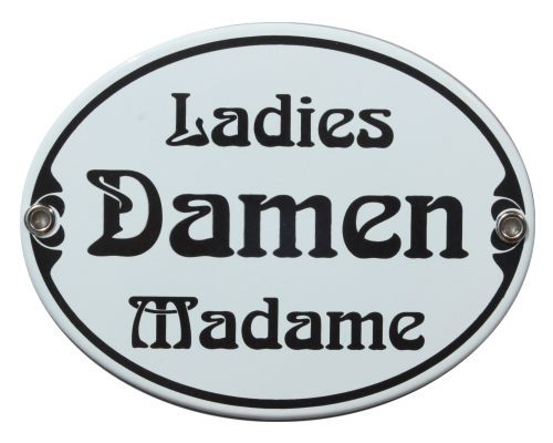 Türschild Damen Ladies Madame WC Jugendstil 11,5 x 15 cm oval Emaille Schild (ohne Holzrahmen) Nr. 1