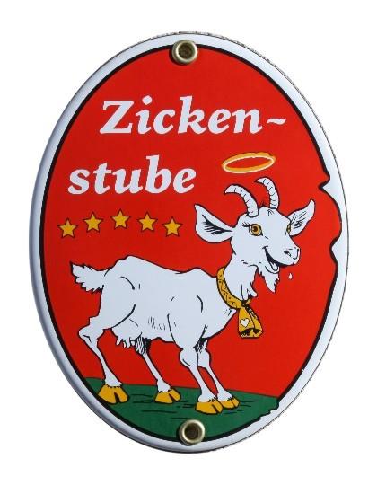 Zickenstube Emaille Schild Oval Nr. 1649