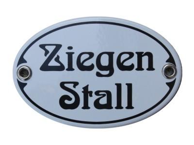 Türschild Ziegen Stall 7 x 10,5 cm oval Emaille Schild Jugendstil (ohne Holzrahmen) Nr. 1247