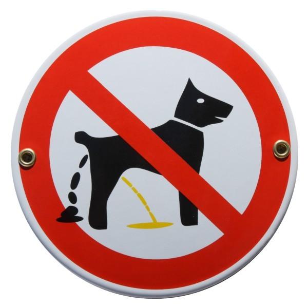 """Hunde Toilette Verboten Bitte nicht hier Emailschild """"Bitte nicht hier"""" Emaille Schild wei"""