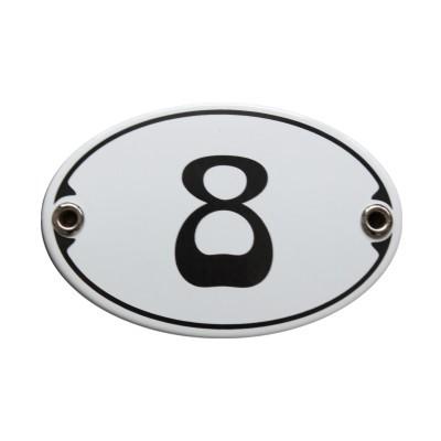 Nummer 8 Emailschild Jugendstil 7 x 10,5 cm oval weiß (ohne Holzrahmen) Nr. 1078