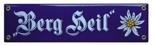Berg Heil mit Edelweiß Emaille Schild 8 x 30 cm Emailschild blau Nr. 1221