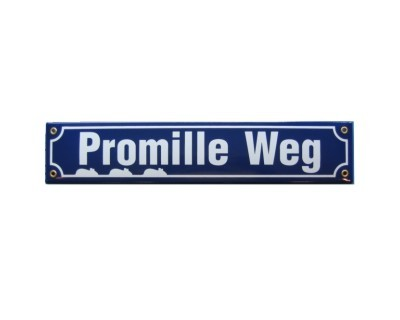 Promille Weg Emaille Schild Straßenschild Nr. 822