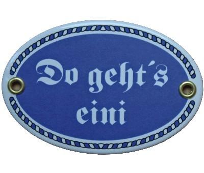 Türschild Do geht's eini mit Kordelrahmen Emaille Schild 7 x 10,5 cm Email blau Nr. 1081