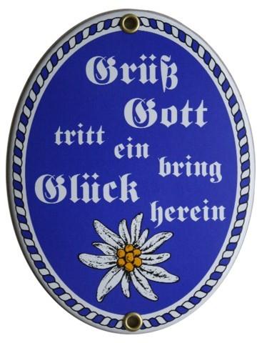 Grüß Gott Emaille Schild Oval blau Nr. 1260