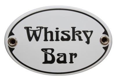 Türschild Whisky Bar 7 x 10,5 cm oval Emaille Schild Jugendstil (ohne Holzrahmen) Nr. 1301