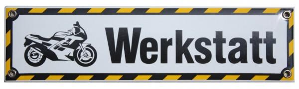 Motorrad Werkstatt 8 x 30 cm Emaille Schild bunt Nr. 1203