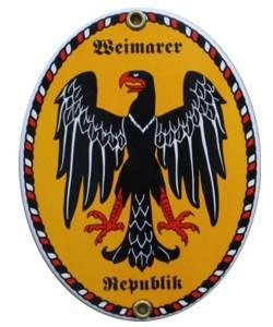 Weimarer Republik Emaille Schild Oval (ohne Holzrahmen) Nr. 1658